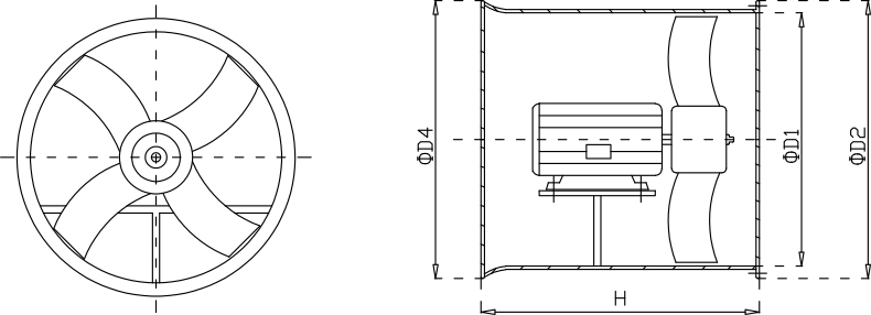 玻璃钢轴流成都风机安装尺寸示意图