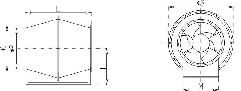 玻璃钢斜流成都风机安装尺寸示意图